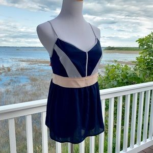 41 Hawthorn Navy chiffon tank with pink band NWT